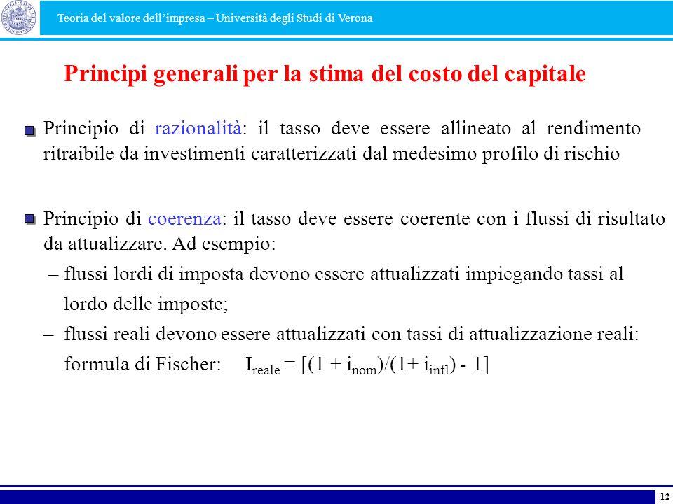 Principi generali per la stima del costo del capitale