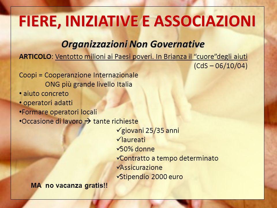 FIERE, INIZIATIVE E ASSOCIAZIONI Organizzazioni Non Governative