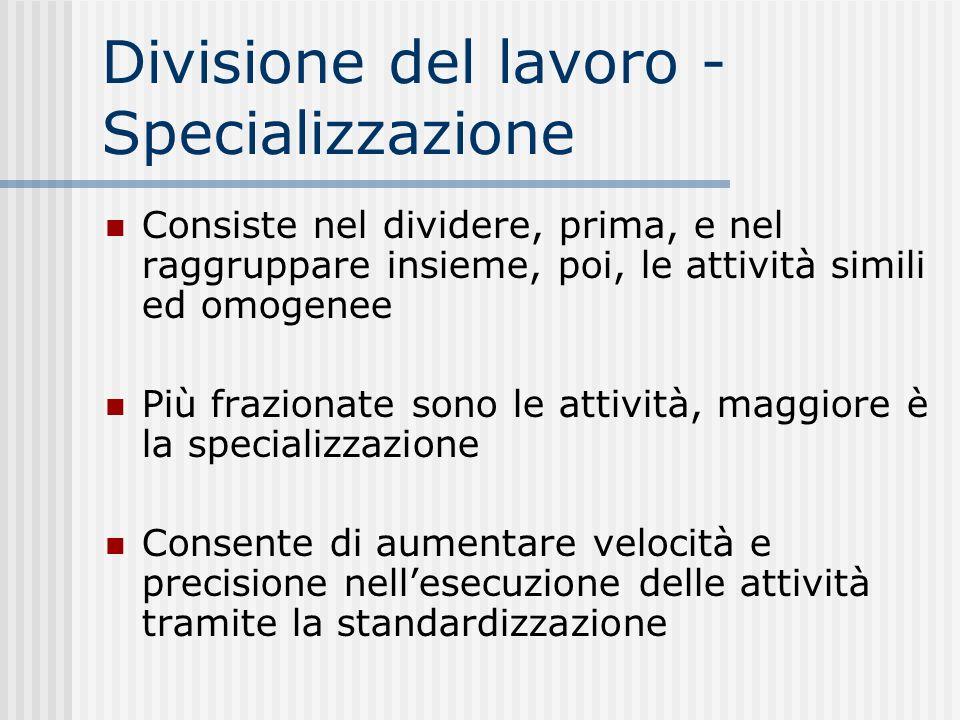 Divisione del lavoro - Specializzazione