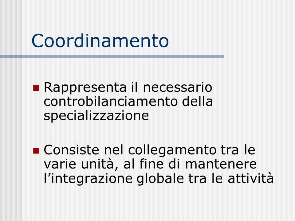 Coordinamento Rappresenta il necessario controbilanciamento della specializzazione.