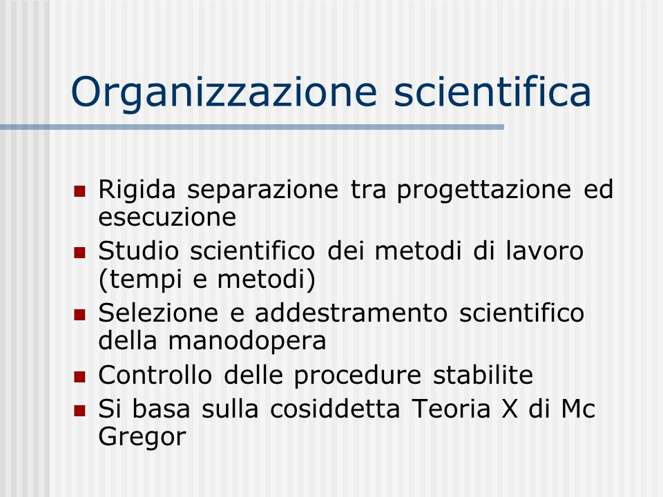 Organizzazione scientifica