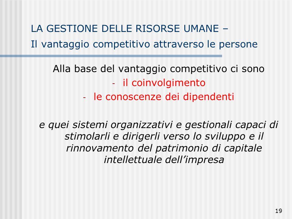 Alla base del vantaggio competitivo ci sono il coinvolgimento