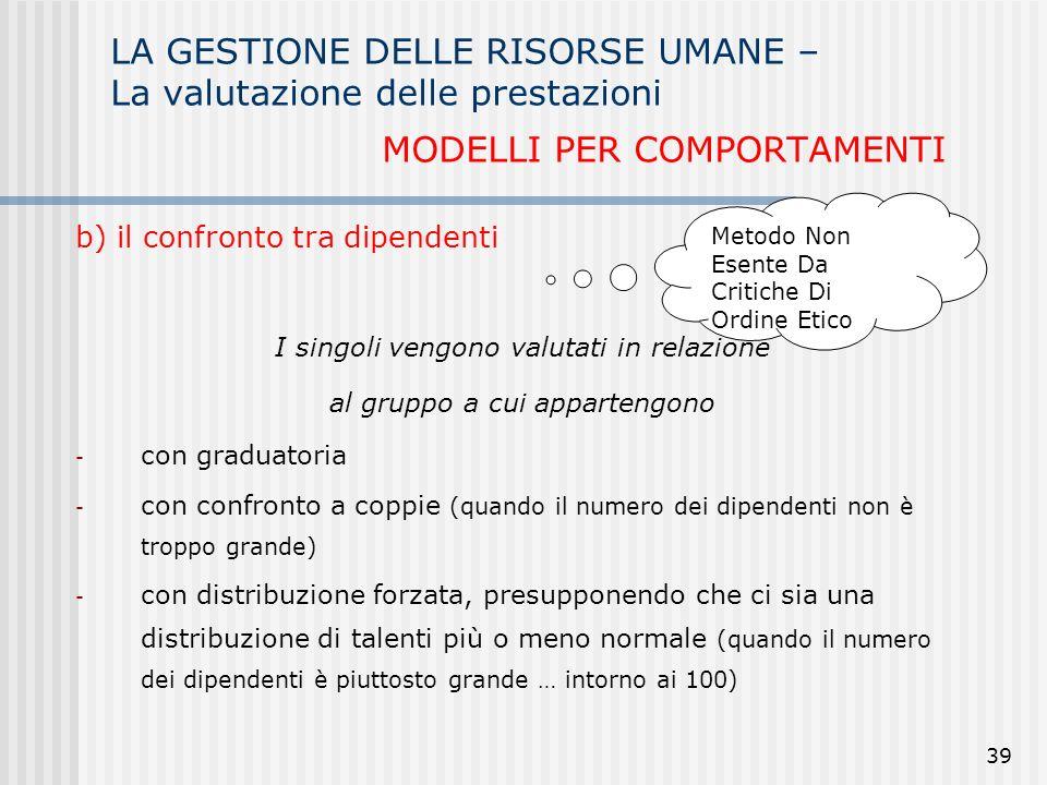 LA GESTIONE DELLE RISORSE UMANE – La valutazione delle prestazioni MODELLI PER COMPORTAMENTI