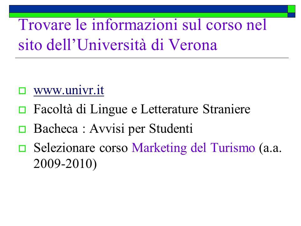 Trovare le informazioni sul corso nel sito dell'Università di Verona