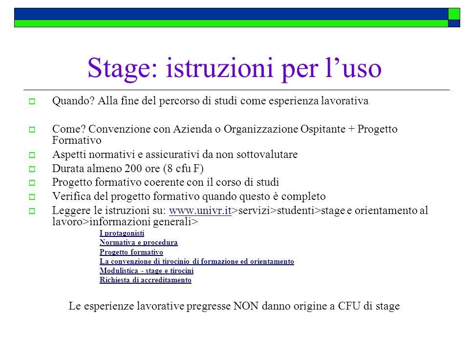 Stage: istruzioni per l'uso