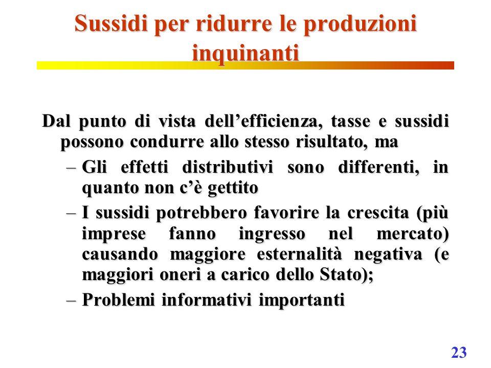 Sussidi per ridurre le produzioni inquinanti