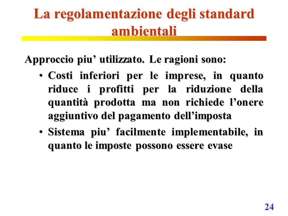La regolamentazione degli standard ambientali