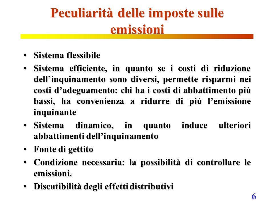 Peculiarità delle imposte sulle emissioni