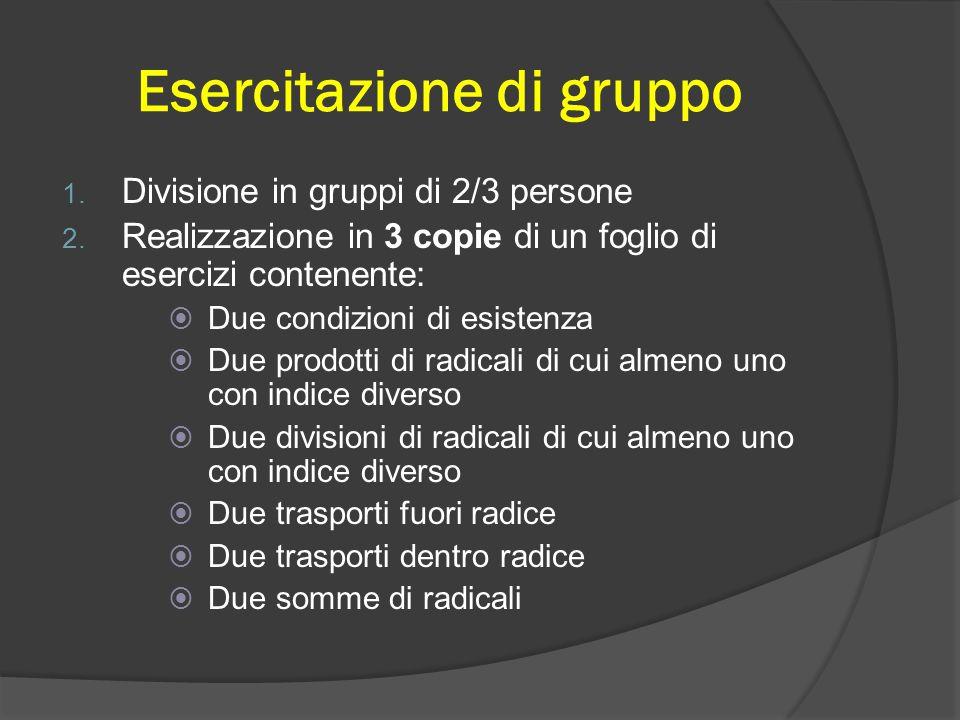 Esercitazione di gruppo