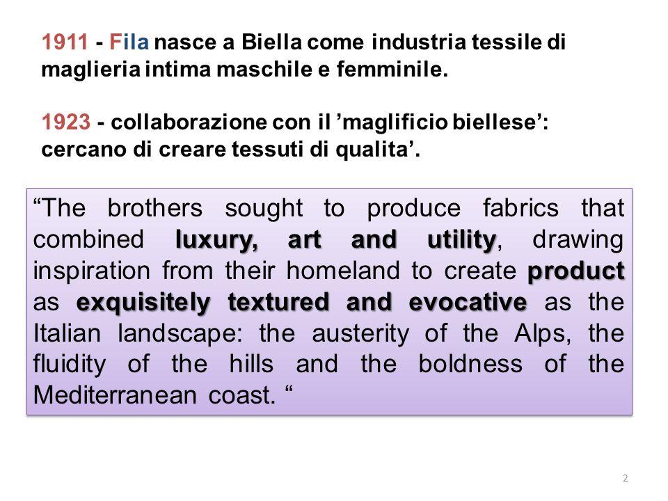 1911 - Fila nasce a Biella come industria tessile di maglieria intima maschile e femminile.