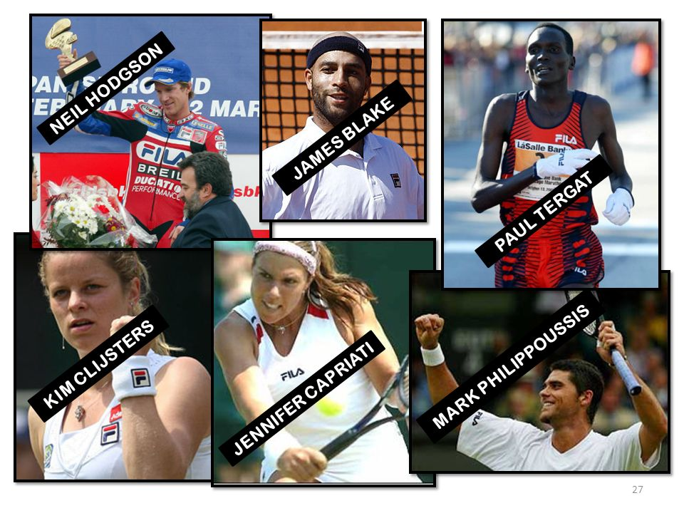 NEIL HODGSON JAMES BLAKE PAUL TERGAT KIM CLIJSTERS MARK PHILIPPOUSSIS JENNIFER CAPRIATI