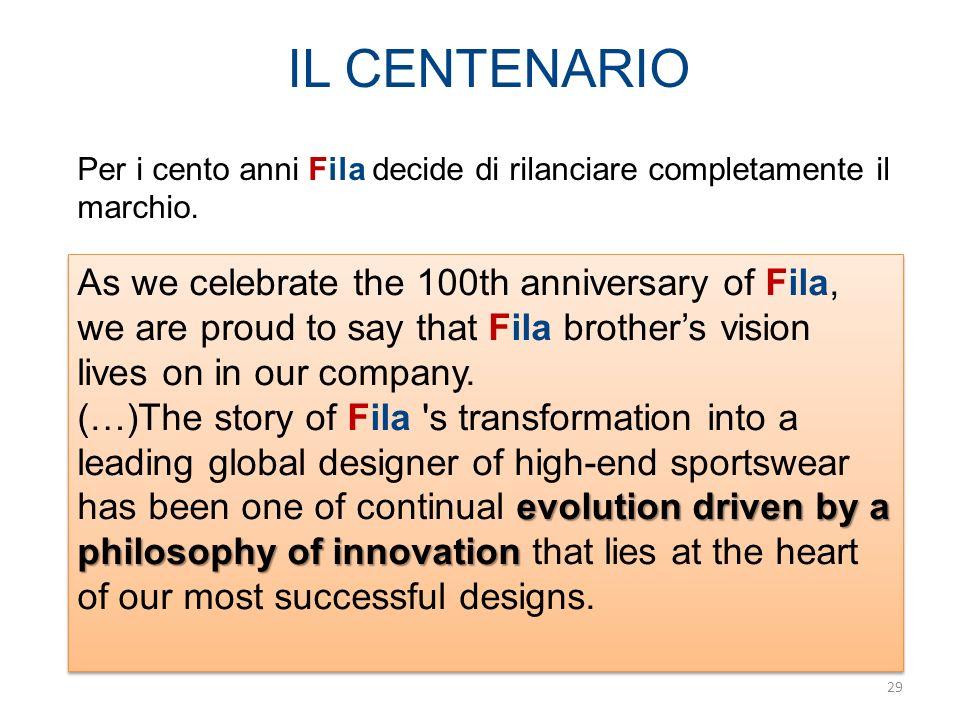 IL CENTENARIO Per i cento anni Fila decide di rilanciare completamente il marchio.