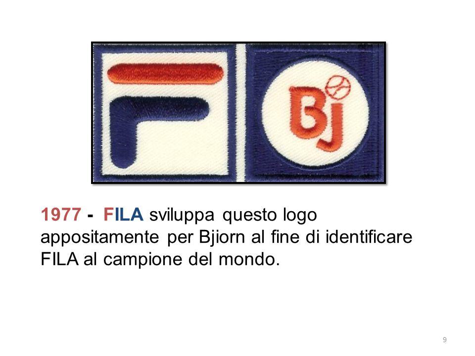 1977 - FILA sviluppa questo logo appositamente per Bjiorn al fine di identificare FILA al campione del mondo.