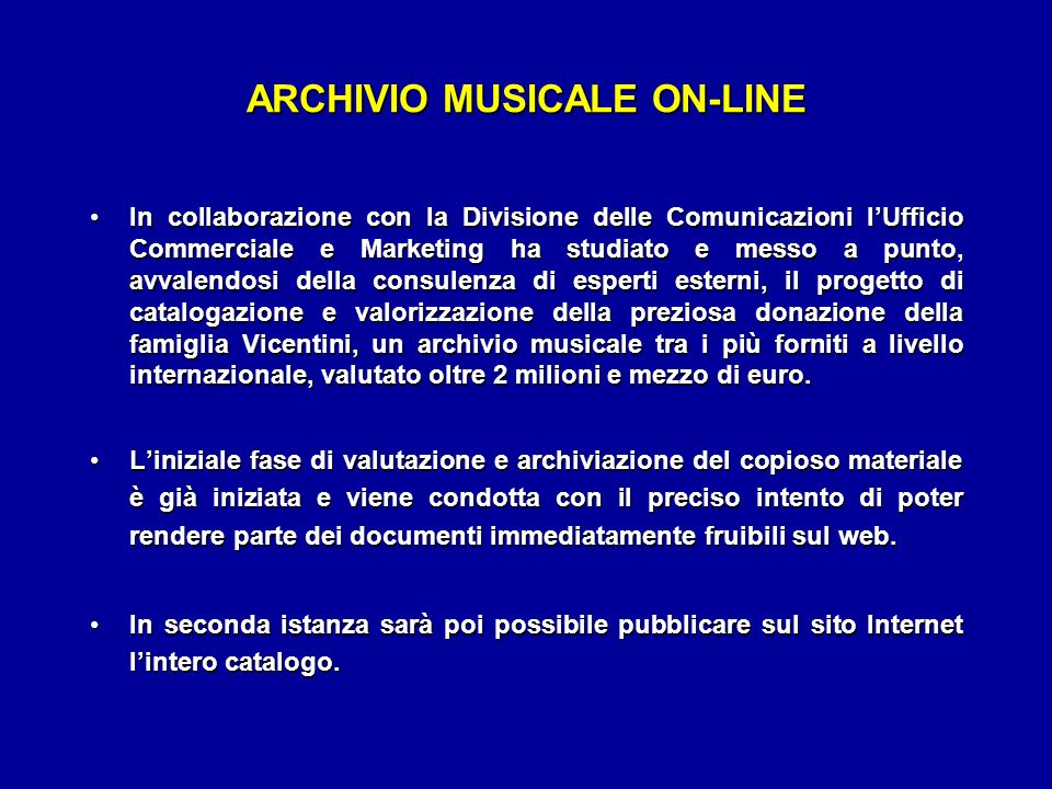 ARCHIVIO MUSICALE ON-LINE