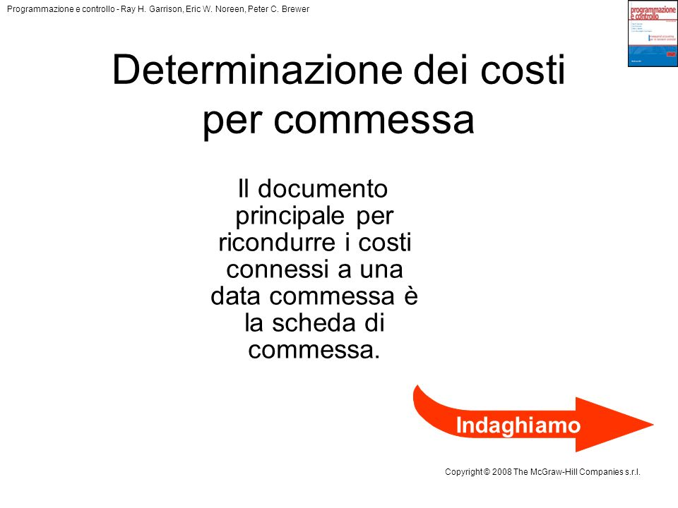 Determinazione dei costi per commessa