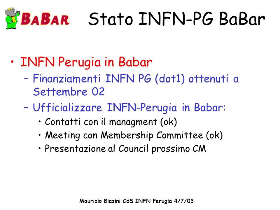 Maurizio Biasini CdS INFN Perugia 4/7/03