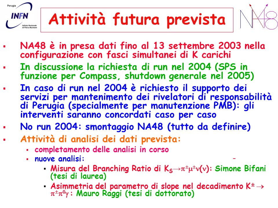 Attività futura prevista