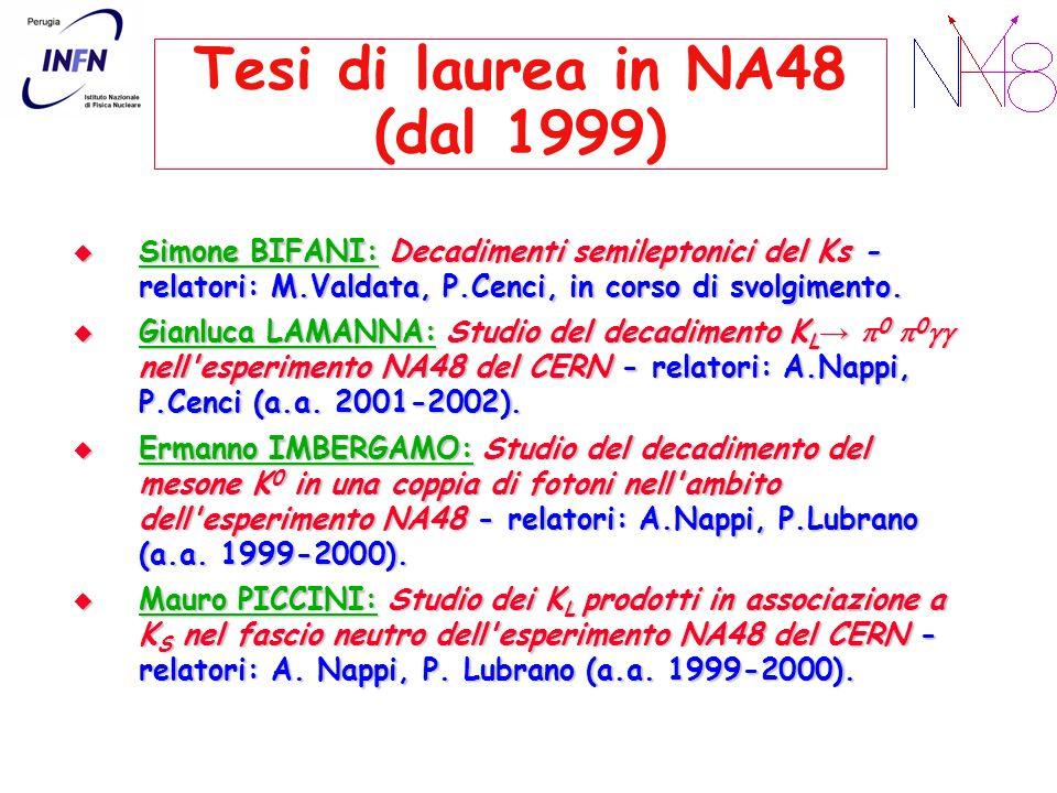 Tesi di laurea in NA48 (dal 1999)