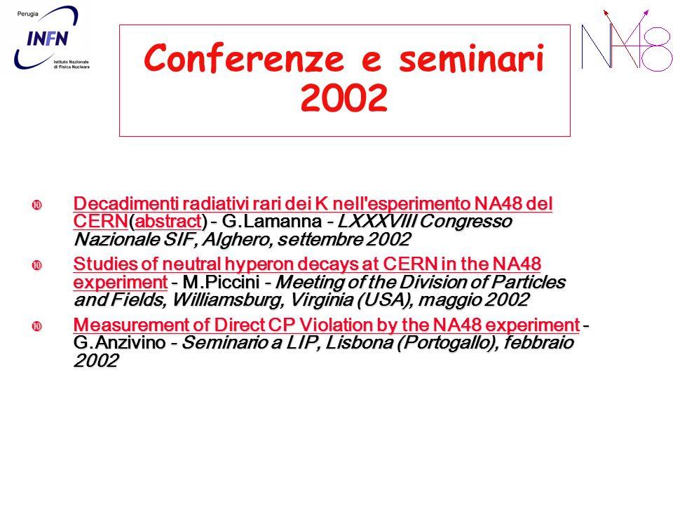 Conferenze e seminari 2002