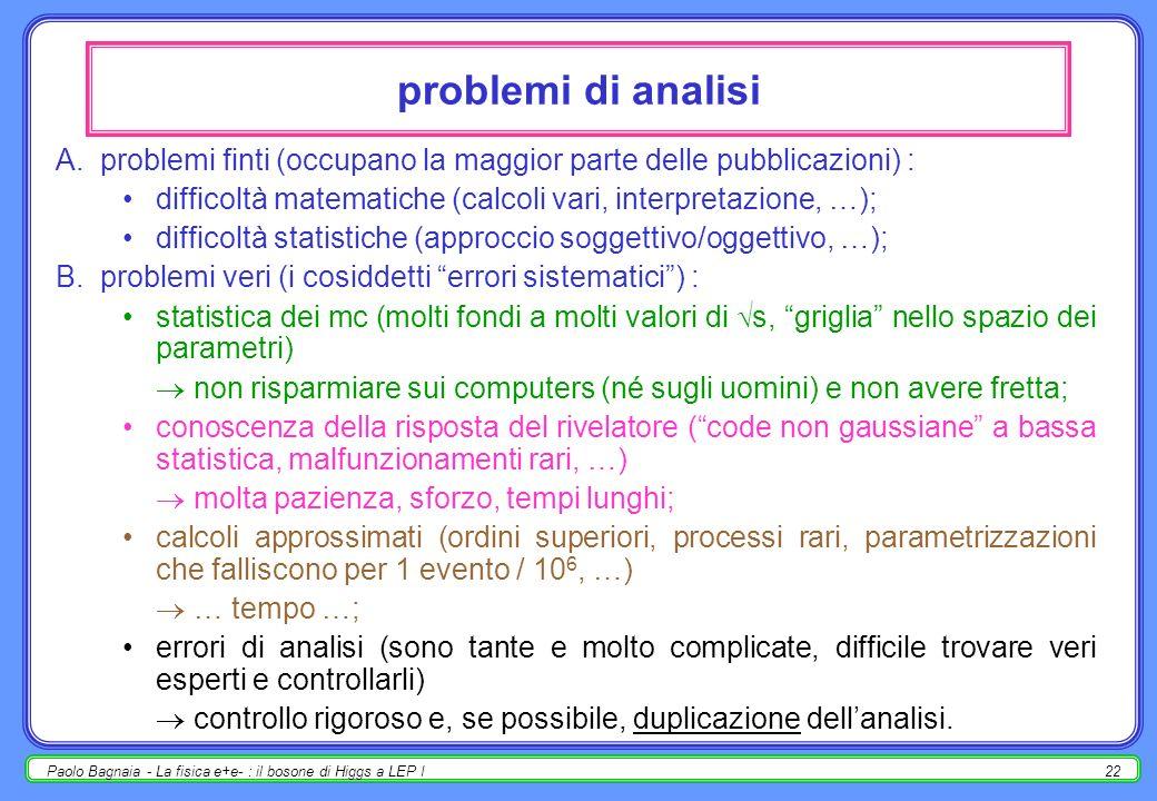 problemi di analisi problemi finti (occupano la maggior parte delle pubblicazioni) : difficoltà matematiche (calcoli vari, interpretazione, …);