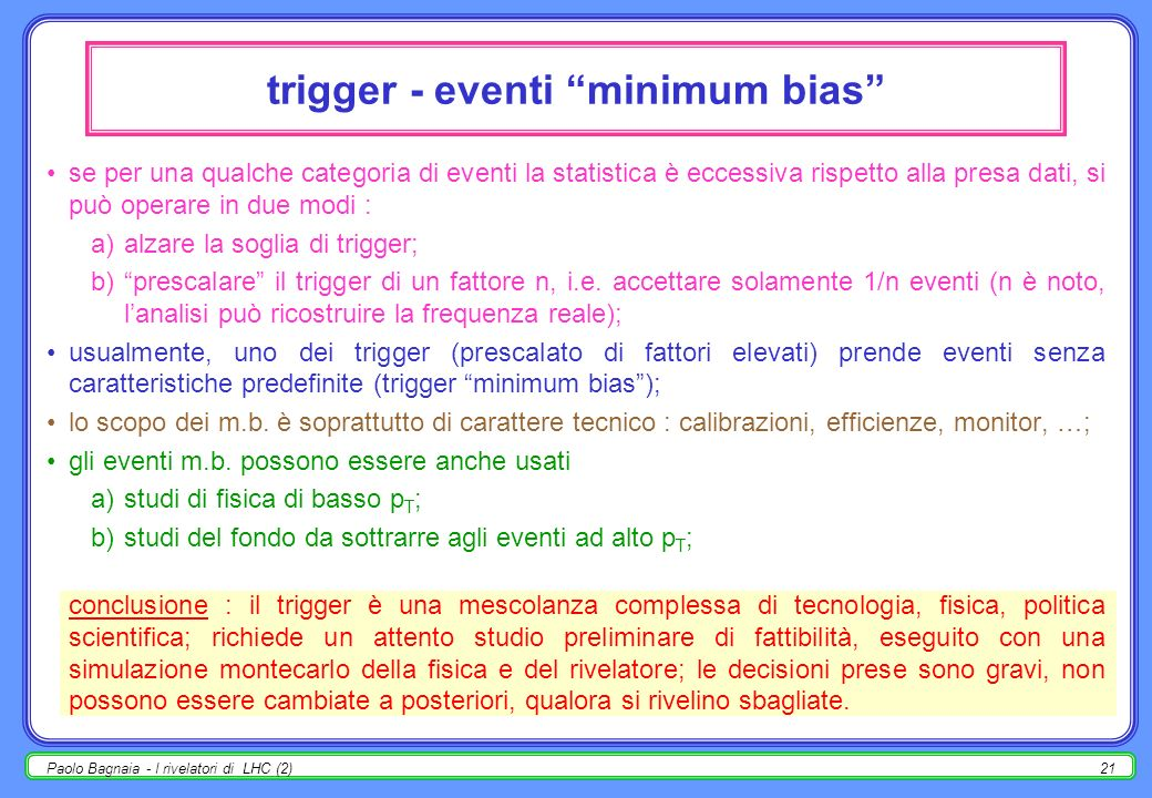 trigger - eventi minimum bias