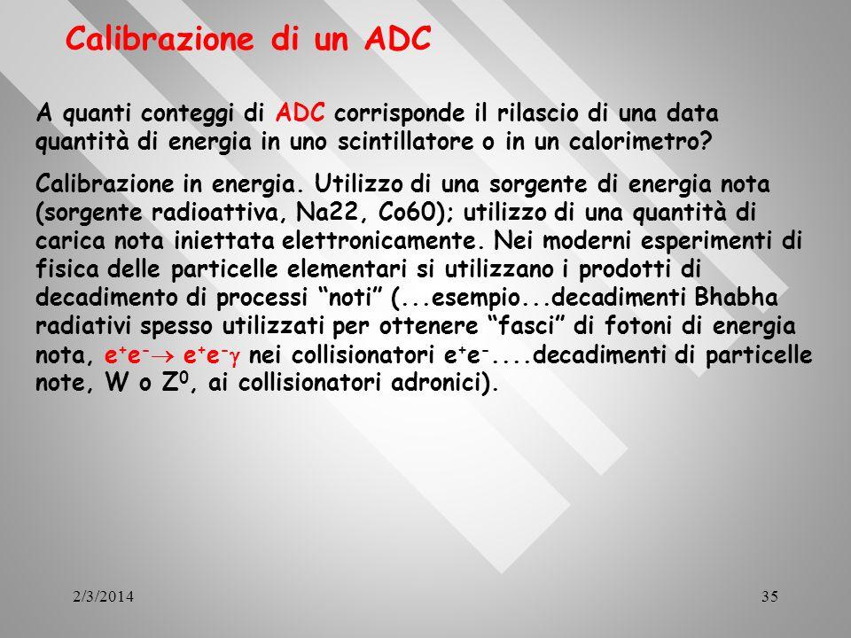 Calibrazione di un ADC A quanti conteggi di ADC corrisponde il rilascio di una data quantità di energia in uno scintillatore o in un calorimetro