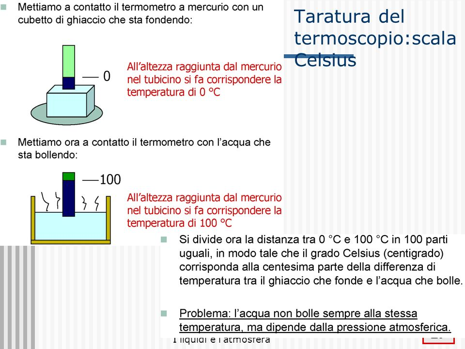 Taratura del termoscopio:scala Celsius