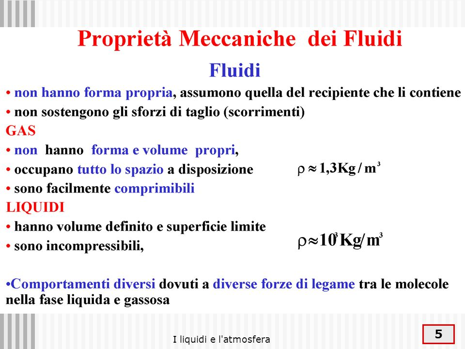 I liquidi e l atmosfera
