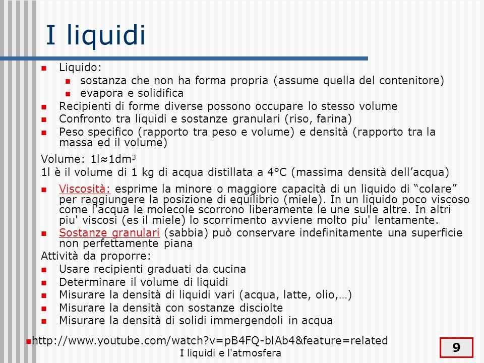 I liquidiLiquido: sostanza che non ha forma propria (assume quella del contenitore) evapora e solidifica.