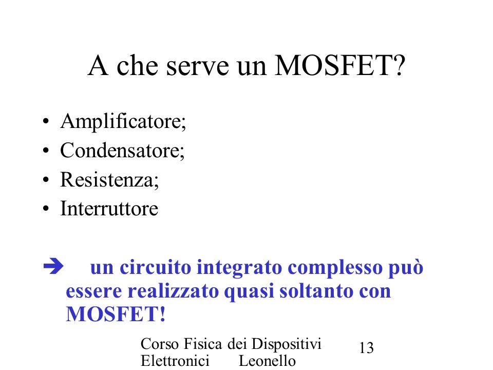 A che serve un MOSFET Amplificatore; Condensatore; Resistenza;