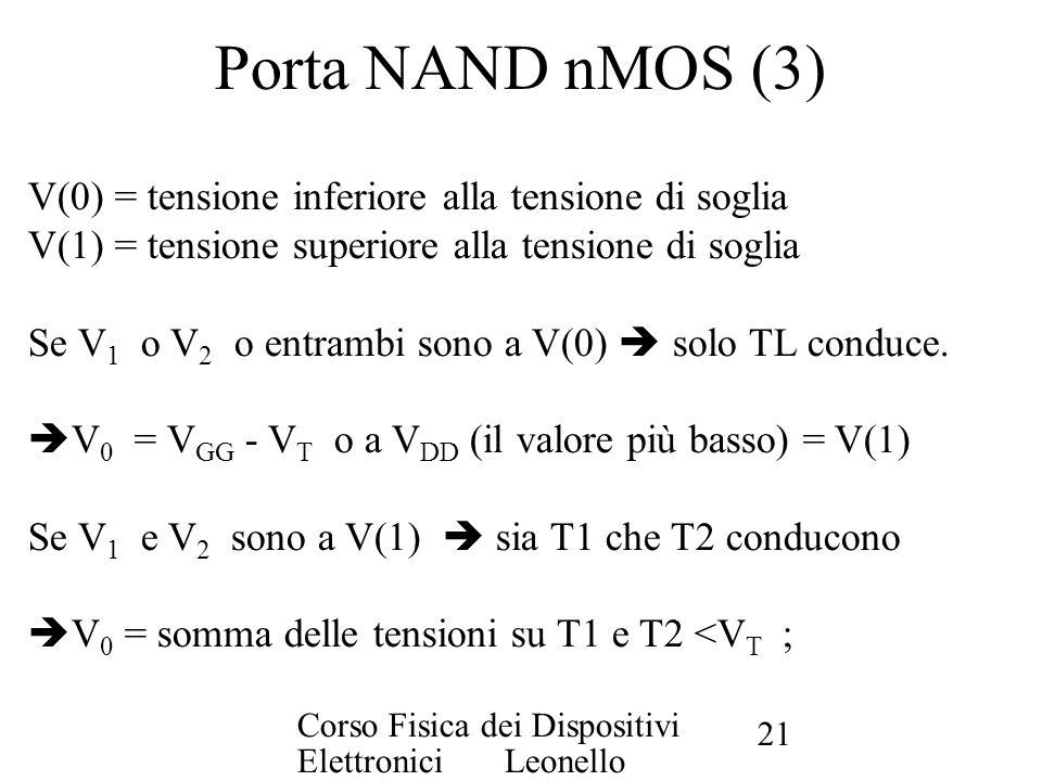 Porta NAND nMOS (3) V(0) = tensione inferiore alla tensione di soglia
