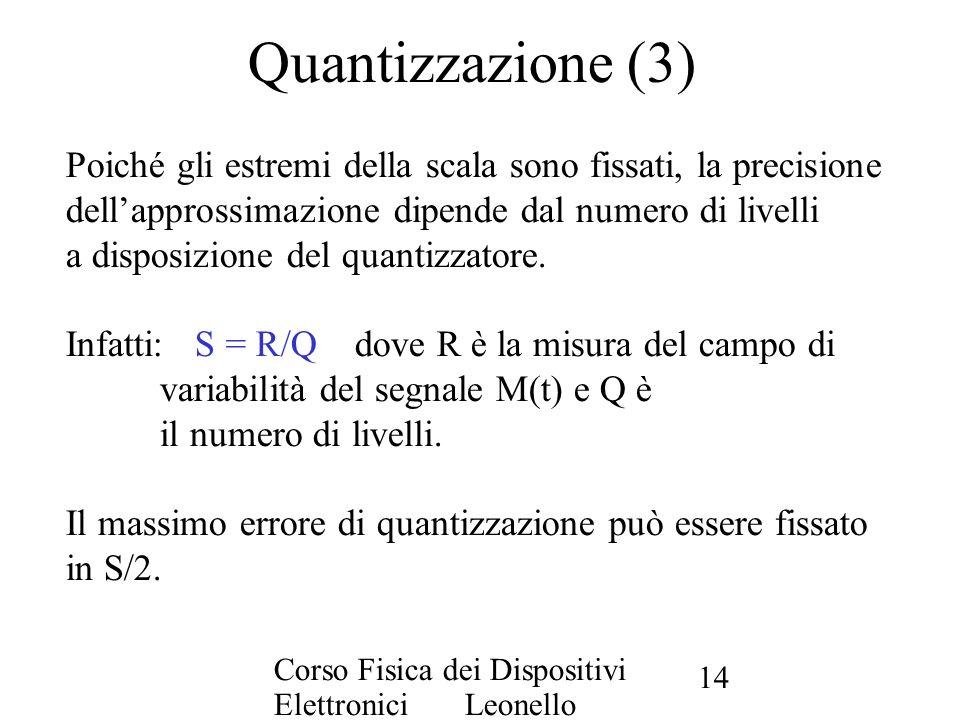 Quantizzazione (3) Poiché gli estremi della scala sono fissati, la precisione. dell'approssimazione dipende dal numero di livelli.