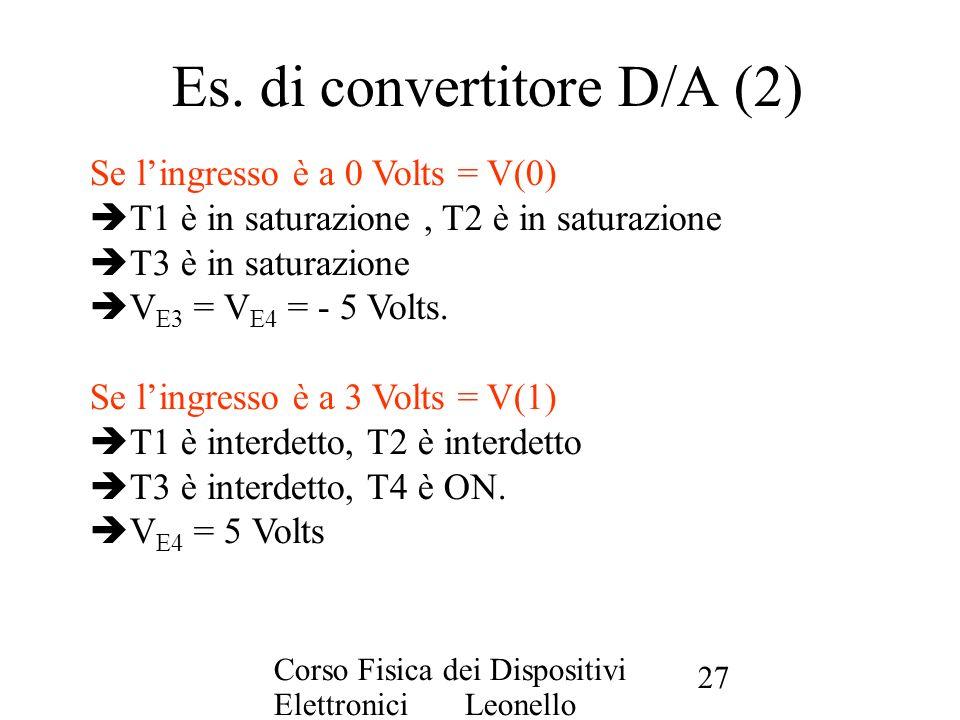 Es. di convertitore D/A (2)