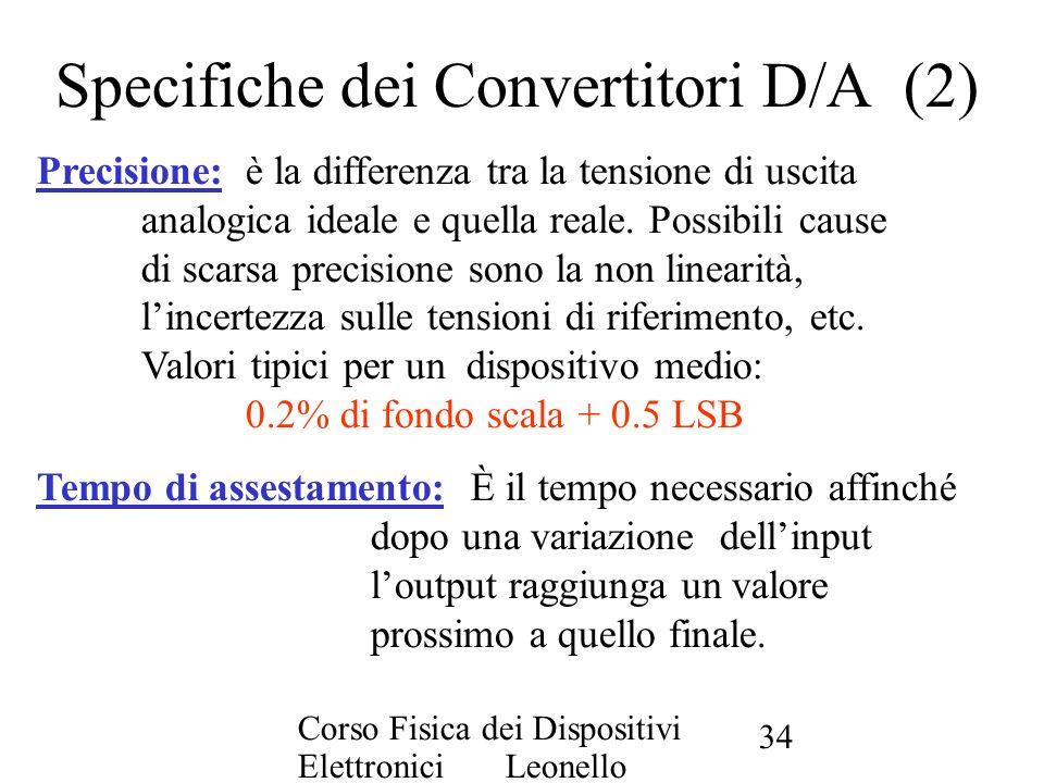 Specifiche dei Convertitori D/A (2)