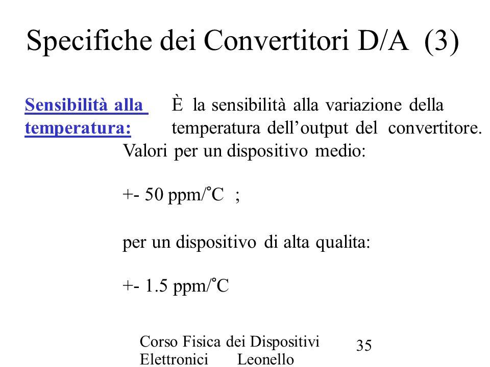 Specifiche dei Convertitori D/A (3)