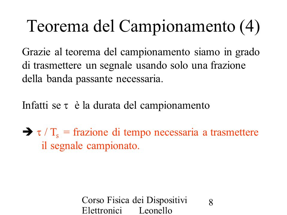 Teorema del Campionamento (4)
