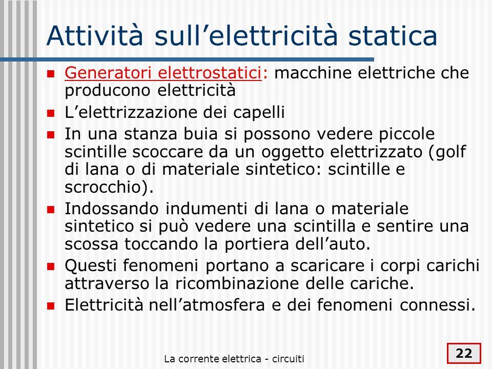 Attività sull'elettricità statica