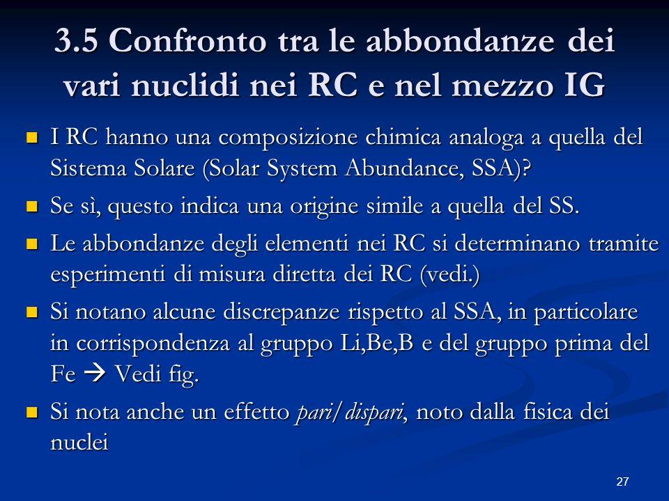 3.5 Confronto tra le abbondanze dei vari nuclidi nei RC e nel mezzo IG