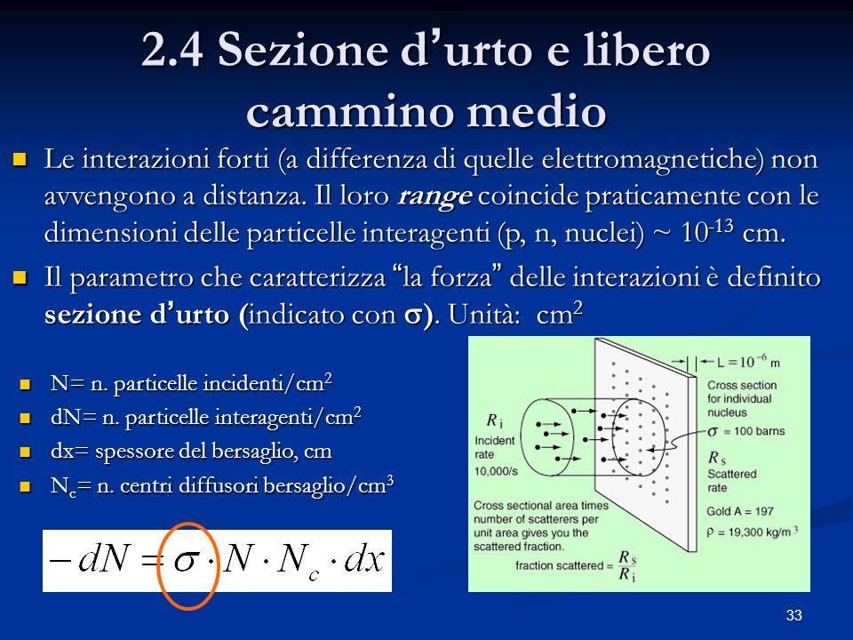 2.4 Sezione d'urto e libero cammino medio