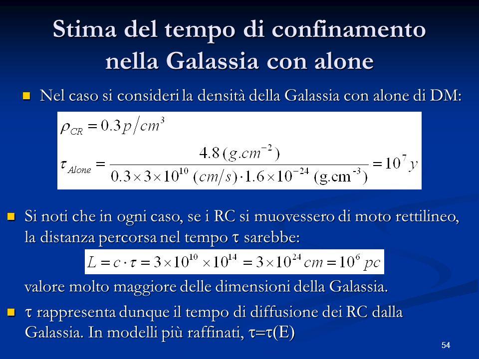 Stima del tempo di confinamento nella Galassia con alone