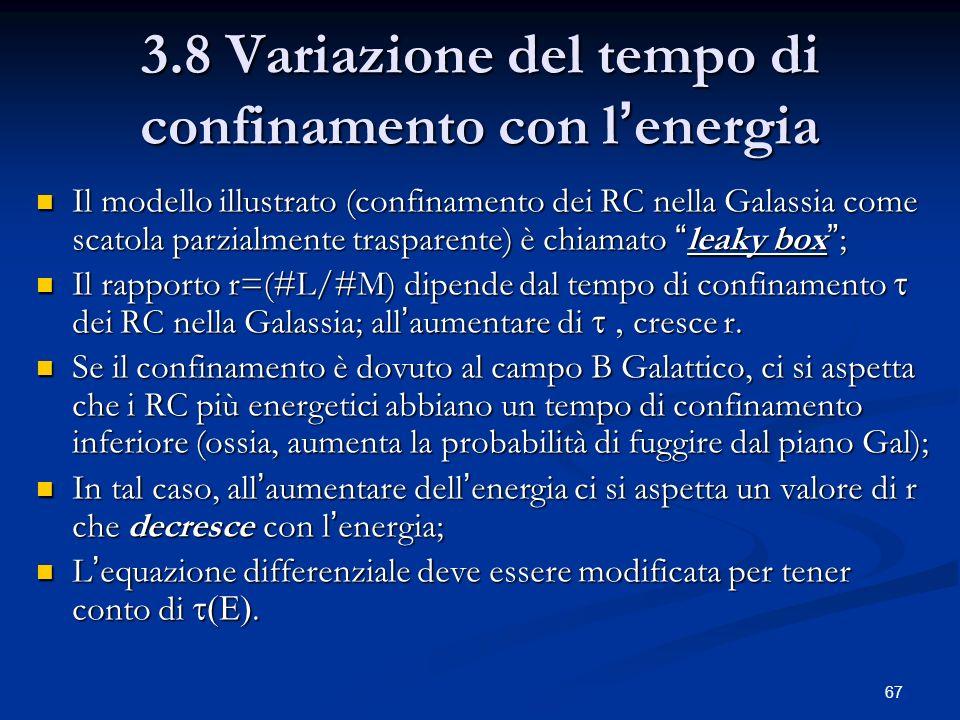 3.8 Variazione del tempo di confinamento con l'energia