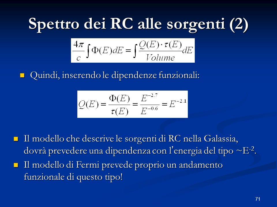 Spettro dei RC alle sorgenti (2)