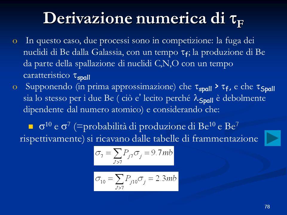 Derivazione numerica di tF