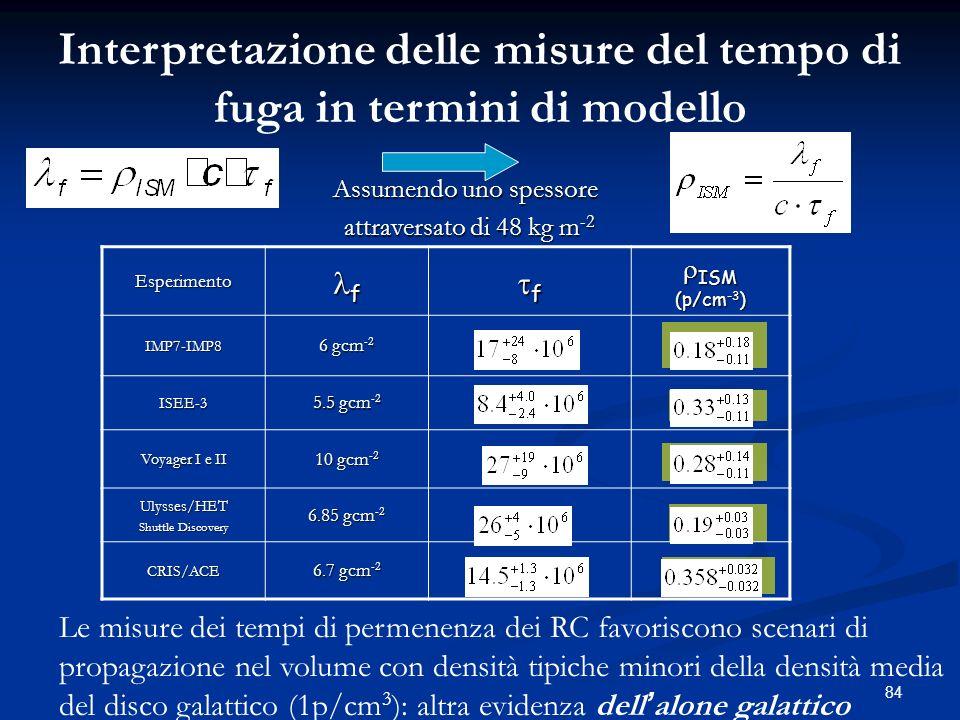 Interpretazione delle misure del tempo di fuga in termini di modello