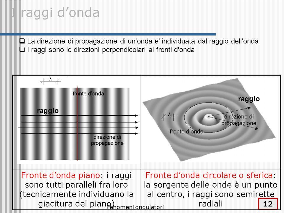 I raggi d'ondaLa direzione di propagazione di un onda e individuata dal raggio dell onda. I raggi sono le direzioni perpendicolari ai fronti d onda.