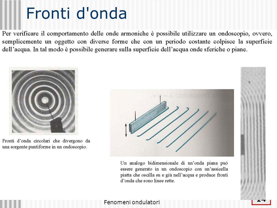 Fronti d onda Fenomeni ondulatori
