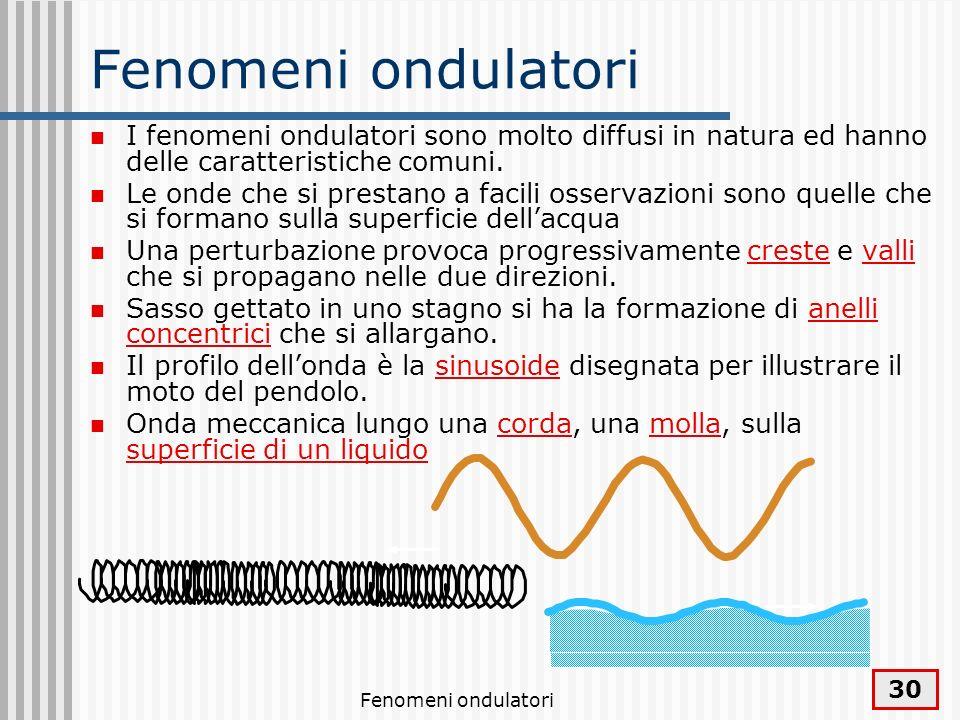 Fenomeni ondulatori I fenomeni ondulatori sono molto diffusi in natura ed hanno delle caratteristiche comuni.