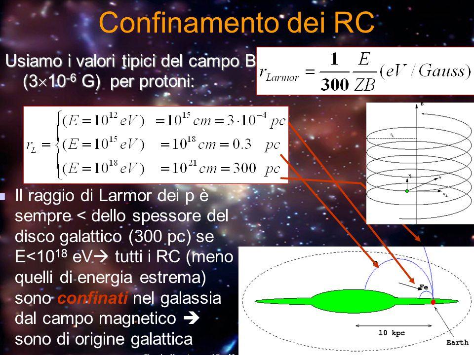 Confinamento dei RC Usiamo i valori tipici del campo B (310-6 G) per protoni: