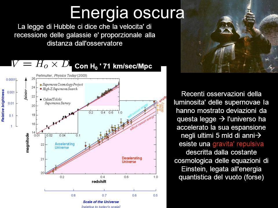 Energia oscura La legge di Hubble ci dice che la velocita di recessione delle galassie e proporzionale alla distanza dall osservatore.