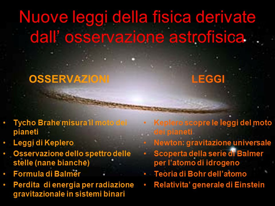 Nuove leggi della fisica derivate dall' osservazione astrofisica